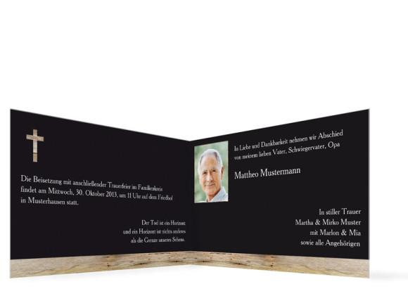 Innensicht Trauerkarten Holz, Farbversion: schwarz