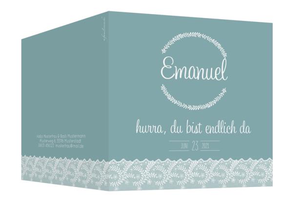 Babykarte quadr. (300 x 150 mm), Motiv: Elisabeth/Emanuel, Aussenansicht, Farbvariante: blaugruen