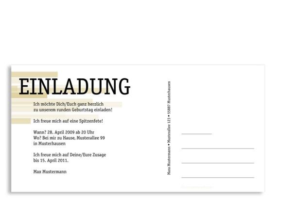 Rückseite, Einladungs-Postkarte zum Geburtstag, Motiv Technik, Farbversion: beige