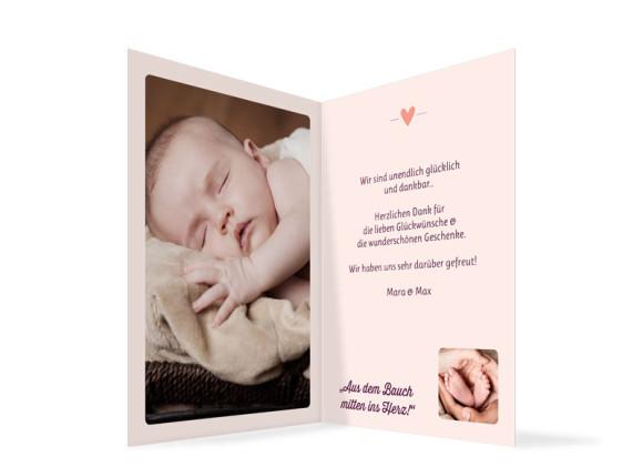 Babykarte (Klappkarte A6), Motiv: Estelle/Etienne, Innenansicht, Farbversion: brombeer/apricot