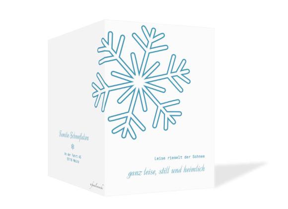 Weihnachtskarten Eiskristall, Außenansicht der Farbversion: blau