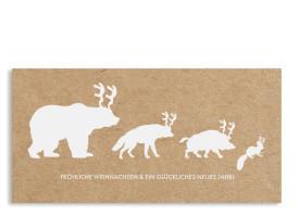 Weihnachtskarte Waldtiere (Postkarte) Weiß