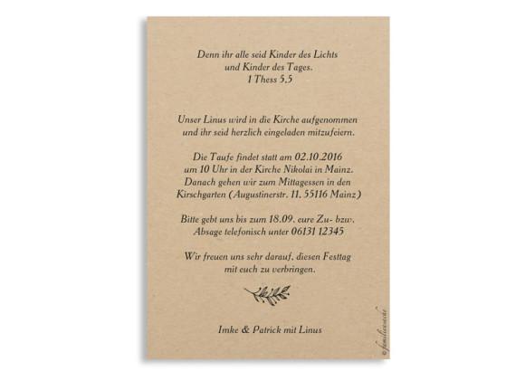 Einladungskarten zur Taufe Nature, Rückseite in beige/schwarz