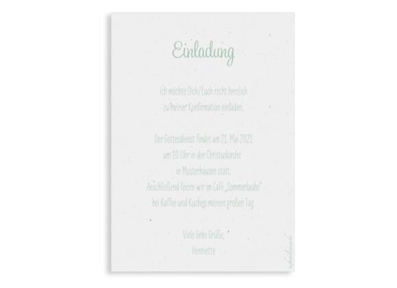 Konfirmationseinladung (Postkarte Hochformat mit Foto), Motiv: Henriette/Henry, Rückseite, Farbvariante: gruen