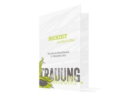 Kirchenheft zur Hochzeit Drei Haselnüsse (Klappkarte) Grün