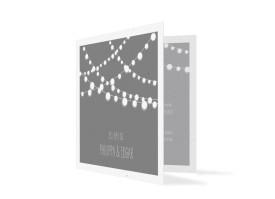 Hochzeitseinladung Lichterkette Grau