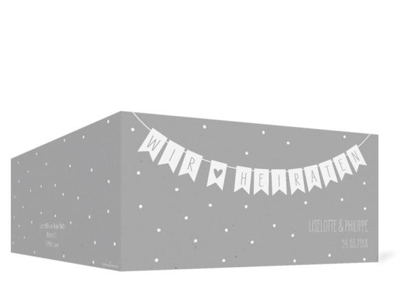 Hochzeitseinladung Wimpelkette, Klappkarte DL quer, Außenansicht in grau