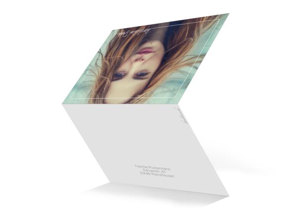 Dankeskarte als Klappkarte C6 quer, Motiv: Kraftvoll, Aussenansicht, Farbvariante: weiss