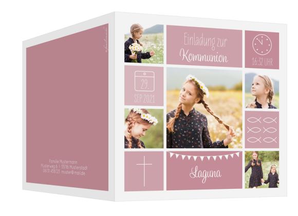 Kommunionseinladung  (quadratische Klappkarte mit fünf Fotos), Motiv: Bildreich, Aussenansicht, Farbvariante: altrosa