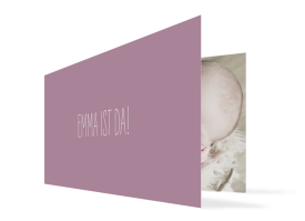Geburtskarte Emma/Emil lila
