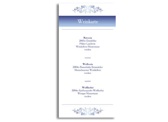 Menükarten zur Hochzeit Mailand (DIN Lang-Karte)