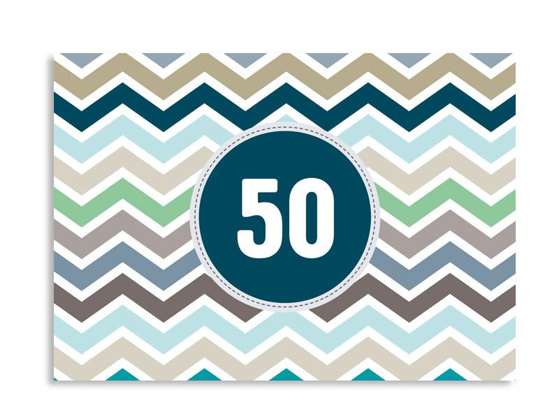 Einladungskarte ZigZag Zum 50. Geburtstag Blau