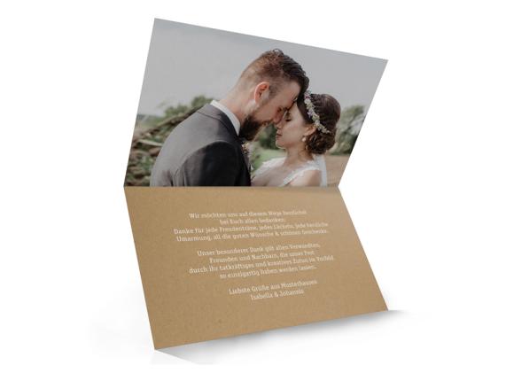 Danksagung zur Hochzeit (Klappkarte unten offen), Motiv: Gent Natural, Innenansicht, Farbvariante: weiss