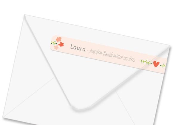 Adressbanderole Laura/Levi, linke Seite der Farbversion: apricot