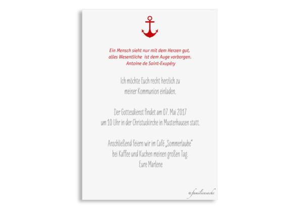Einladungskarte zur Kommunion Stripes Anchor, Rückseite in Gelb