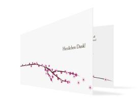 Hochzeits-Danksagungskarte Yokohama (Klappkarte) Pink