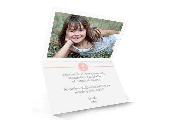 Einladungskarte zur Kommunion Hamptons Cross, Innenansicht in Apricot