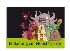 Einladung zu Halloween Monster2 Grün