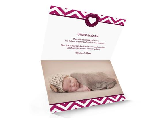 Geburtskarten Hamptons Sweetheart, Innenansicht der Farbversion: brombeer/weinrot