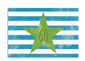 Einladungskarte Vintage Star zum 60. Geburtstag (A6) Blau/Grün