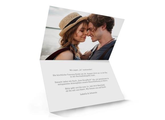 Einladungskarte Hochzeit (Klappkarte A6, unten offen), Motiv: Gent Pure, Innenansicht, Farbvariante: grau