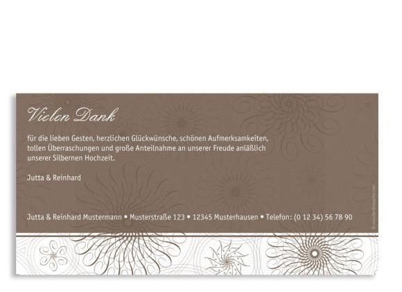 Danksagung Silberne Hochzeit, Motiv Mandala (Postkarte DL quer, ohne Foto), Rückseite, Farbversion: beige