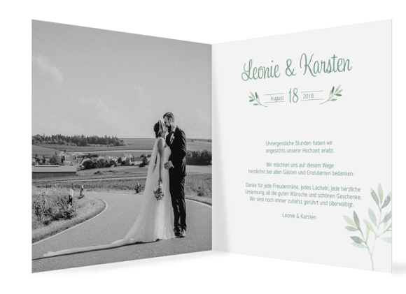 Danksagungskarten Hochzeit (300 x 150 mm), Motiv: Blätterkranz DS, Innenansicht, Farbvariante: Grün