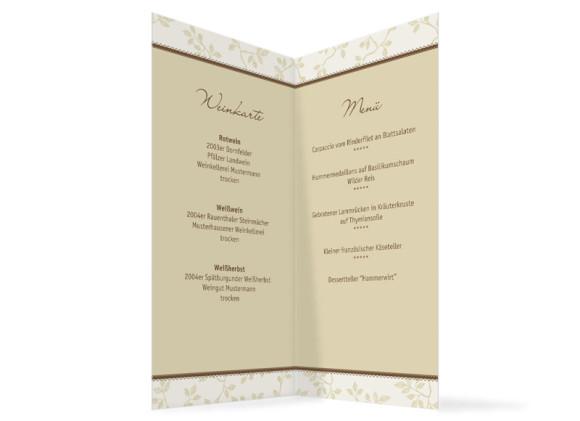 Innenansicht, Menükarte zur Hochzeit (Klappkarte), Motiv Oxford, Farbversion: beige-braun