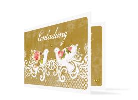 Einladung zur goldenen Hochzeit Turteltauben Beige