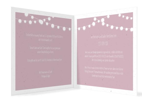 Hochzeitseinladung Lichterkette, quadr. Klappkarte, Innenansicht in altrosa