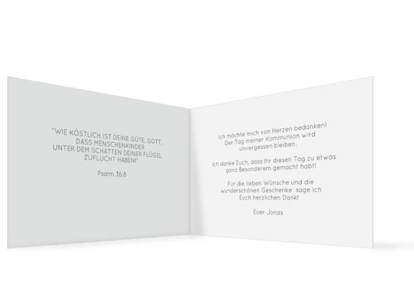 Dankeskarte Kommunion (Klappkarte C6 quer mit Foto), Motiv: Ausblick, Innenansicht, Farbvariante: grau