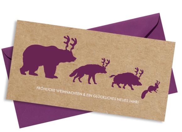 Weihnachtskarte Waldtiere mit Umschlag, Farbversion: brombeer