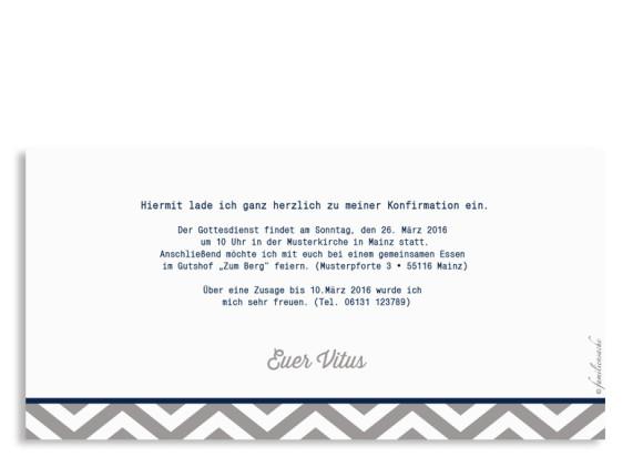 Einladungen zur Konfirmation Hamptons Classic, Rückseite der Farbversion: hellgrau/blau
