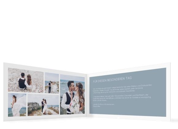 Danksagungskarten Hochzeit (Klappkarte DL mit 5 Fotos), Motiv: DS Salzburg, Innenansicht, Farbvariante: blau