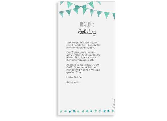 Konfirmationseinladung (Postkarte DL mit Foto), Motiv: Stimmung, Rückseite, Farbvariante: gruen