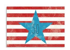Einladungskarte Vintage Star zum 50. Geburtstag (A6) Rot/Blau