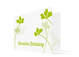 Einladungskarten Growing Fresh ohne Foto (Klappkarte) Grün