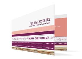 Weihnachtskarten Weihnachtsband (Klappkarte) Brombeer/Apricot