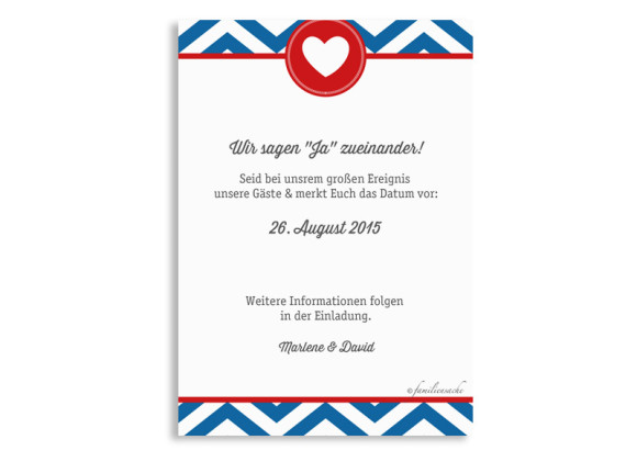 Save The Date Hamptons Heart, Rückseite der Farbversion: blau/rot