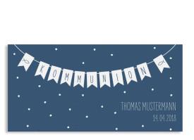 Einladung Kommunion Wimpelkette Postkarte DL Dunkelblau