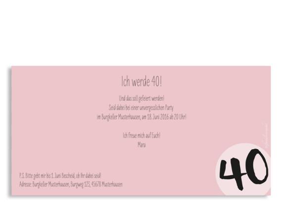 Einladungskarten Lucky Stripes, 40. Geburtstag, Postkarte, Rückseite, Farbversion: puder
