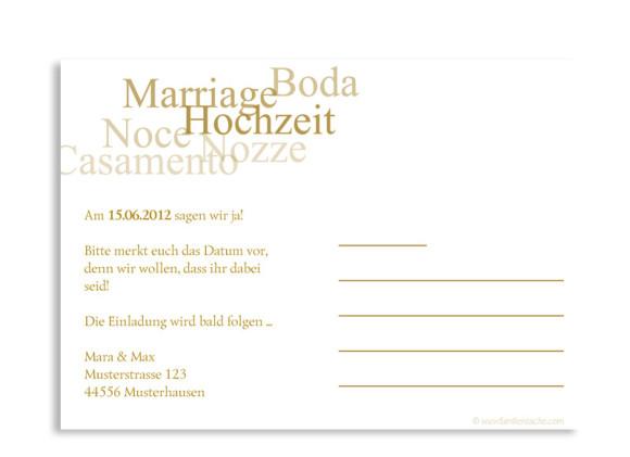 Rückseite, Einladungs-Postkarte zur Hochzeit, Motiv Casablanca, Farbversion: beige