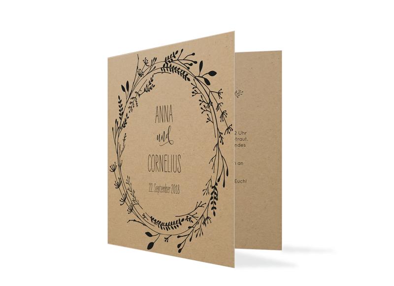 Einladungskarten Hochzeit Blumenkranz Natural Kraftpapier