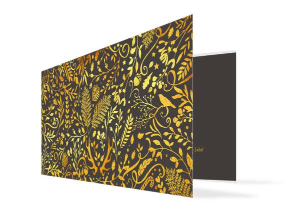 Firmen-Weihnachtskarte Naturgold (Klappkarte)