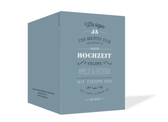 Einladungskarten zur Hochzeit (Klappkarte C6), Motiv: Rotterdam, Aussenansicht, Farbvariante: blau