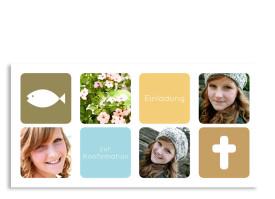 Konfirmationseinladung Ava/Avery (Postkarte mit 5 Fotos) Oliv