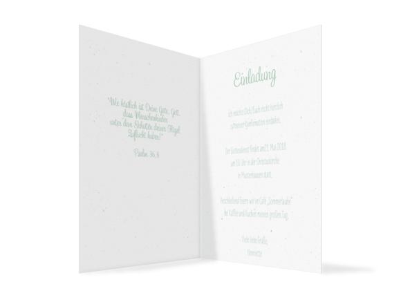 Konfirmationseinladung (Klappkarte Hochformat mit Foto), Motiv: Henriette/Henry, Innenansicht, Farbvariante: gruen