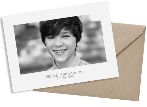 Kommunionskarte als Postkarte A6 mit Foto, Motiv: Ausblick, mit Briefhülle, Farbvariante: grau