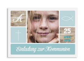 "Kommunionseinladung ""Lucia Luca"" (Postkarte mit Foto) eisblau"