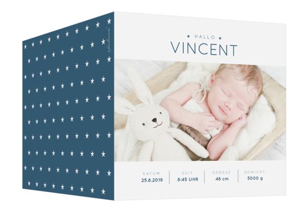 Danksagung Geburt (quad. Klappkarte, 5 Fotos), Motiv: Valentina/Vincent, Aussenansicht, Farbvariante: dunkelblau